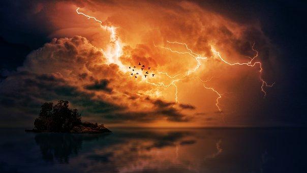 Thunderstorm, Sea, Clouds, Forward, Island, Birds