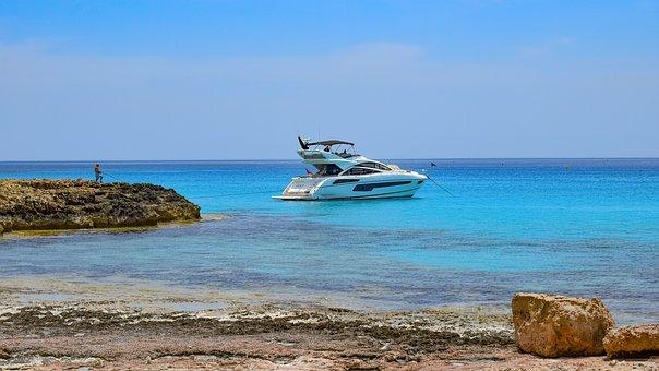 Rocky Coast, Beach, Sea, Blue, Yacht, Island, Vacation