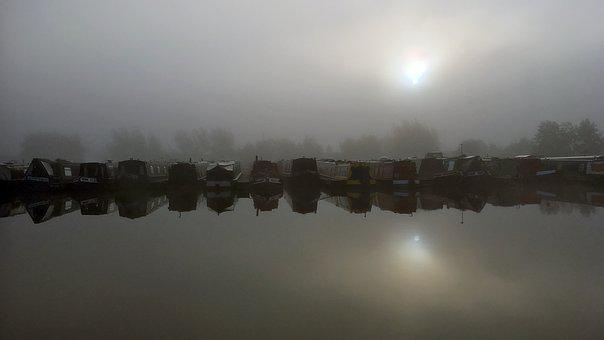 Canal Boat, Canal Boats, Foggy, Picturesque, Canal