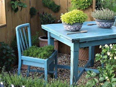Table, Chair, Plants, Garden