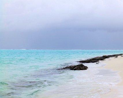 Sea, Beach, Ocean, Rocks, Maldives, Cloud Cover, Storm