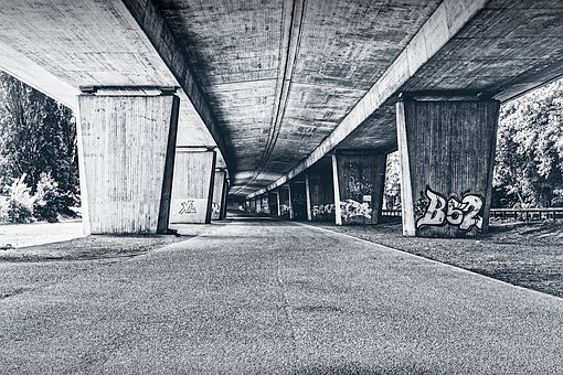 Underpass, Monochrome, Construction, Concrete