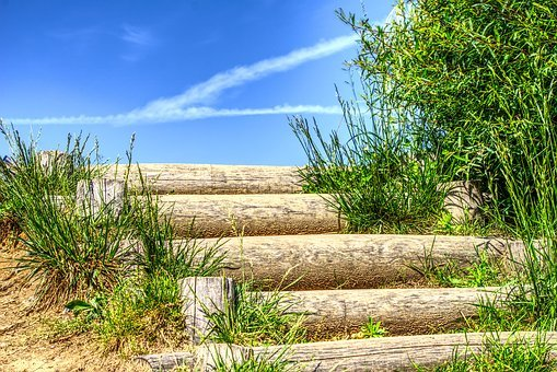 Stairs, Wood Stairs, Top, Sky, Rise, Dune, Sea