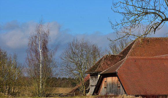 Landscape, Farm, Building, Rural, Farmhouse, Winter
