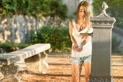 Girl, Fontana, Water, Garden, Landscape, Fontanella