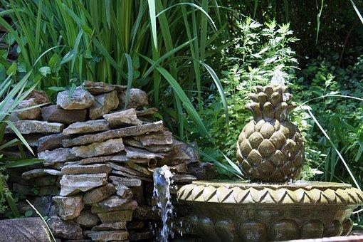 Fountain, Water, Park, Garden, Flowing, Splashing