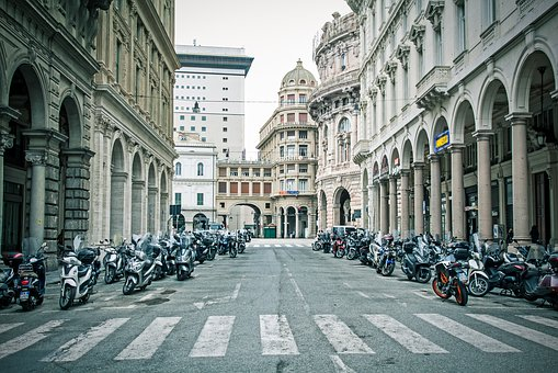 Italy, Traffic, Street, Urban, Genoa, Scooter, Europe