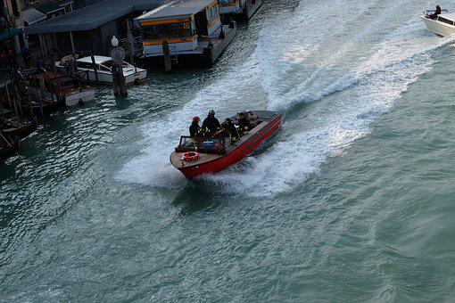 Venice, Fire Fighter, Boat, Italy