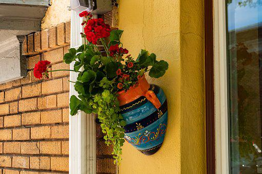 Mexican, Vase, Wall, Decoration, Flower