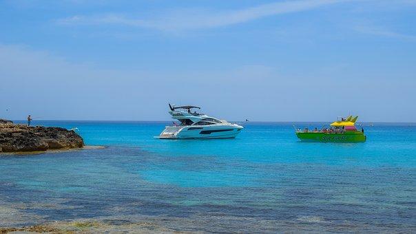 Rocky Coast, Beach, Sea, Blue, Yacht, Cruise Boat