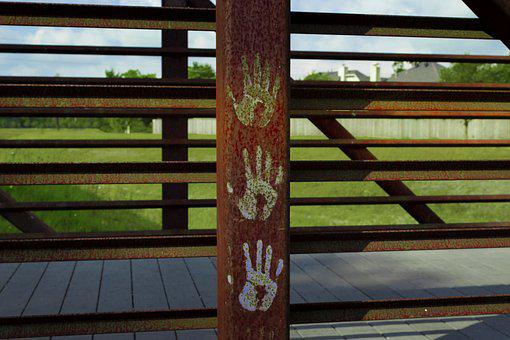 Bridge, Rusted, Graffiti, Crosswalk, Metal, Rust, Old