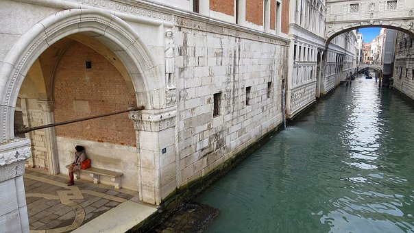 The Bridge Of Sighs, Ponte Dei Sospiri, Woman, Channel