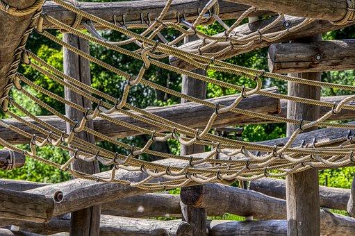 Playground, Wood Trunks, Wood, Support, Klettergerüst
