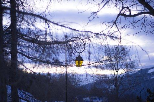 Alps, Snow, Mountain, Floor Lamp, Winter, Ski