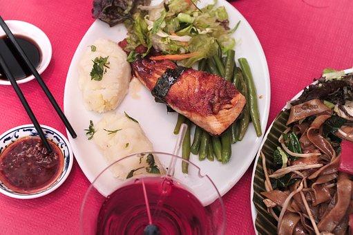 Asianfood, Food, Dinner, Salmon, Ricedish, Rice, Plate