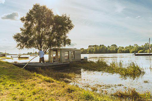 River, Tree, Boat, Houseboat, Sky, Water, Nature, Grass