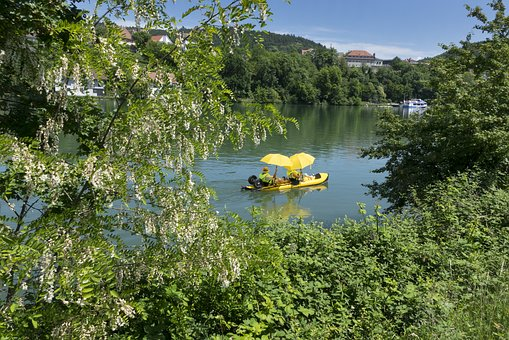 Rhine, Boot, Water, Pedal Boat, Parasol