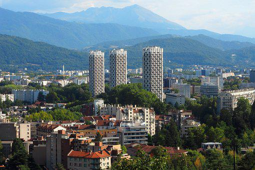 Grenoble, 3 Rounds, France, City, Mountain, Isère
