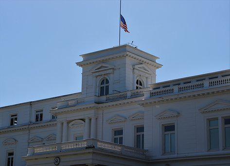 Consulate, Usa, Hamburg, Flag, Half-mast, Outer Alster