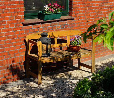 Bank, Garden, The House, Early Summer, Coziness, Wood
