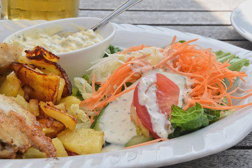 Fried Potatoes, Salad, Eat, Lunch, Supplement