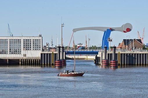 Emden, Large Sea Lock, Bridge, Port