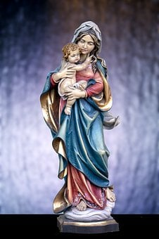 Art Statue, Mary With Child Jesus, Statue, Christianity