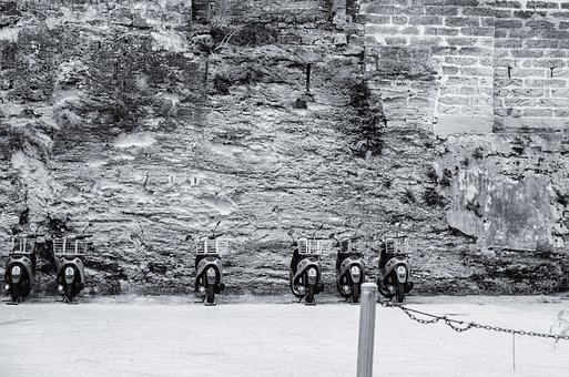 Wall, Bicycles, Bermuda, Bike, Retro, Moped, Vintage