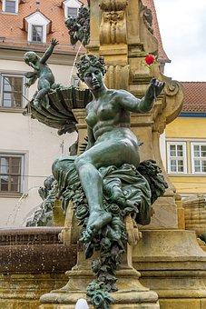 Rose, Flower, Plastic, Fountain, Sculpture, Erfurt