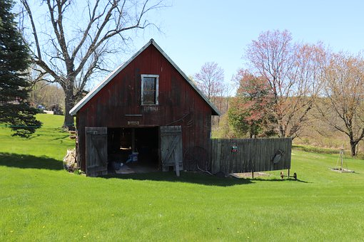 Barn, Red, Red Barn, Rural, Old, Building, Grass