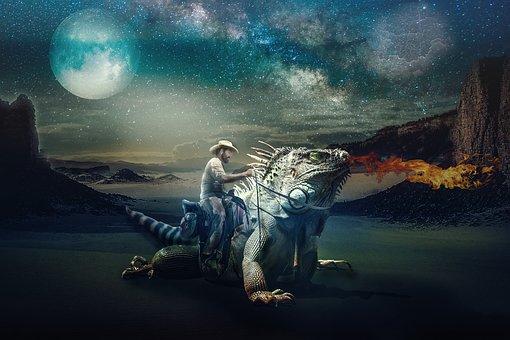 Fantasy, A Wild Ride, Composing, Dragon, Reiter