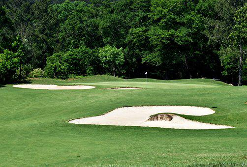 Golf Course, Sand Trap, Outdoors, Landscape, Golf, Sand