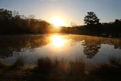 Lake, Sunset, Winter, Light, Morning, Orange, Scenic