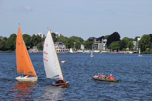 Outer Alster, Sailing Boat, Hamburg, Alster, Boot, Ship