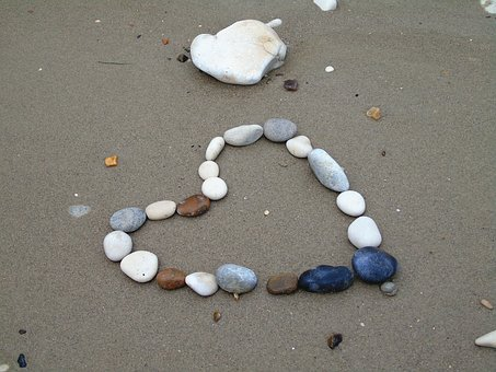 Heart, Pebbles, Pebble, Beach, Sand, Shape, Love, Stone