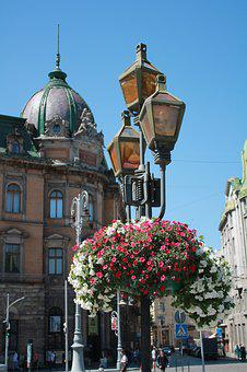 Flowers, Lantern, Street Lamp, Spring, Architecture
