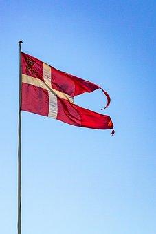 Spiltflag, Dannebrog, Denmark, Flagpole, Red, White