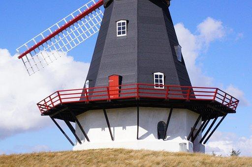 Windmill, Mill, Wing, Denmark, Wind, Müller, Blue Sky