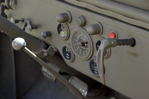Military Vehicle, Army, Retro, Vintage, Jeep, Dashboard