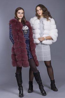 Vest, Fur Coat, Girl, Beauty, Luxury, Fur