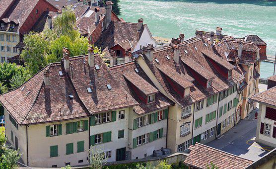 Switzerland, Bern, Old Town, Roofs, Fireplaces, Typical