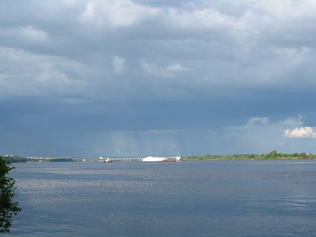 The River Kama, Blue Sky, Dark Clouds, Perm Krai, Beach