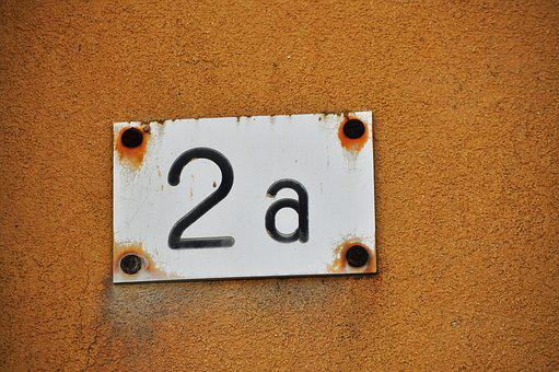Digit, House Number, Shield, 2, Orange, Old, Caption