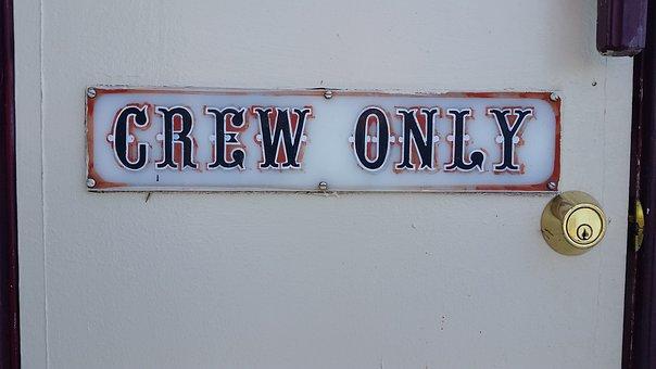 Sign, Crew, Lock, Door