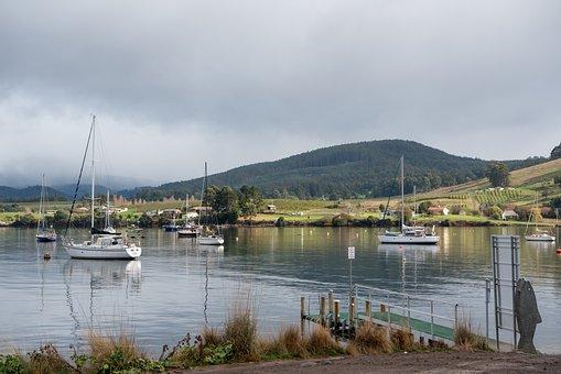 Dover, Tasmania, Fishing Village, Jetty, Sailing Boats