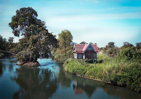 Laos, Home, River, Asia, Landscape, Idyllic, Hut