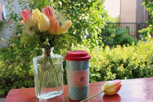 Dining Table, Mug, Coffee, Tea, Bouquet, A Small Bunch