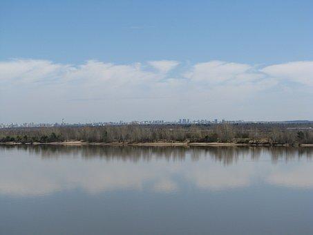 Landscape, Spring, The River Kama, Sky, Nature, Tree