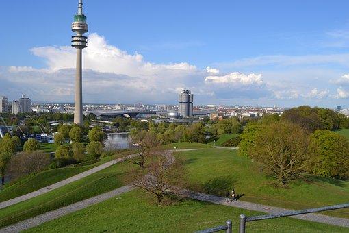 Tv Tower, Olympic Park, Bavaria, Munich, Germany, Park
