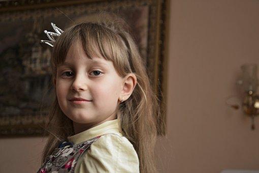 Girl, Princess, Portrait, View, Childhood, Baby Photo
